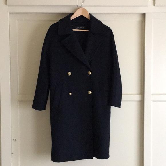 143a6907 Zara Women navy wool coat w/ military gold button.  M_5ac93c49a44dbe6a4a823676